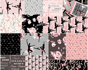 "Benartex CITY BALLET Precut 10"" Fabric Squares Quilting Cotton Layer Cake Kanvas Studio"