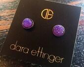SALE Dara Ettinger FELICIA Brilliant Druzy Round Stud Earrings in purple/ Gunmetal