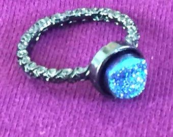 Dara Ettinger VICTORIA Druzy Ring in 14kt Gunmetal/Sky Blue sz 5.5