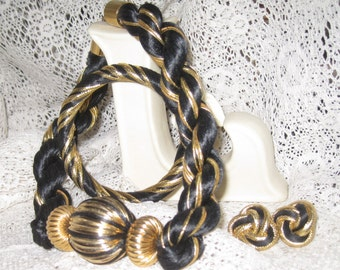 Vintage 1980's Black and Gold Cord Necklace Set