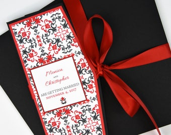 Mexican/Spanish Red/Black Tile Beach Destination Wedding Invitation and RSVP Suite