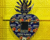 Recycled Printed Tin Mexican Sacred Heart Votive Shrine, Wall Art, Alter Frame