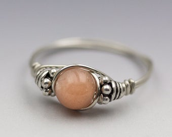 Sunstone Bali Sterling Silver Wire Wrapped Bead Ring - Made to Order, Ships Fast!