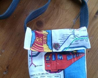 Small  vintage fabric messenger crossbody bag British print