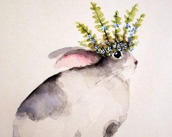 Bunny Rabbit painting original nursery watercolor canvas panel art Princess crown