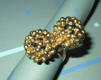 Vintage MOD 60s Dot Ball Statement Adjustable Ring