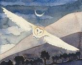 Owl Nights ORIGINAL painting by Danielle Barlow