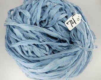 Sari silk ribbon, Silk CHIFFON sari ribbon, Recycled Silk Sari Ribbon, Denim Blue ribbon, knitting supply, Tassel supply, weaving supply