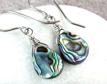 Abalone   Earrings    Oxidized Silver  Drop Pearl  Earrings   Sterling Silver Mother Of Pearl Mop Jewelry Paua Shell Jewelry