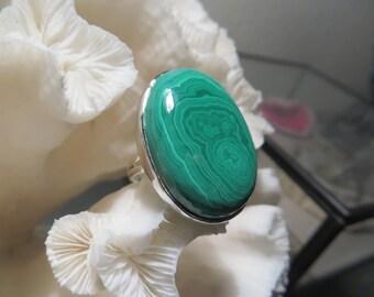 Beautiful Large Green Malachite Ring Size 8.75