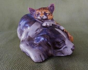Vintage Sleeping Dog and Cat Ceramic Figurine