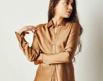 Vintage Donna Karan Tan Shirt
