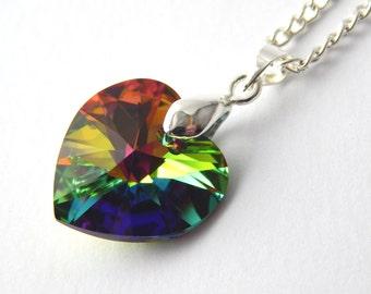 Rainbow Crystal Swarovski Heart Necklace - Vitrail Medium Crystal Necklace - Swarovski Elements - Multicoloured Green Crystal Heart Necklace