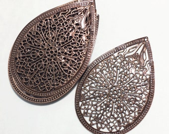 Bulk 100 pcs of Antiqued copper filigree connector 68x45mm, earring drops