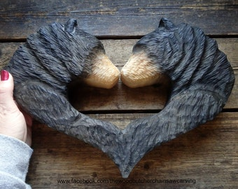 Chainsaw Carved Couples Black Bear Head Heart