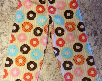 DONUT Doughnut Breakfast Snack Flannel Pajama Lounge Pants Capris or Shorts Available in children's sizes 0-3 6 9 12 18 24 2T 3T 4T 5T pjs