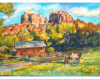 BELOW SEDONA- 11x15 original painting landscape watercolor OOAK, Cathedral Rock , Sedona, Arizona, Red Rock, Horse
