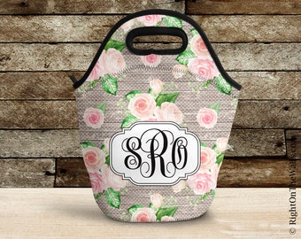 Large Reuseable Lunch Bag, Monogram Insulated Lunch Tote, Shabby Lunch Bag for Women, Patterned Monogrammed Lunch Tote, 10Roses 2 Pattern