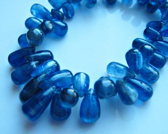 NEW: 1/2 Strand of Finest Smooth Kyanite Teardrop Briolettes 5.5mm - 9mm