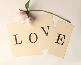 "Vintage ""LOVE"" alphabet letters, Wedding decor, Paper craft supply, Engagement photoshoot prop, Vintage letter cards"