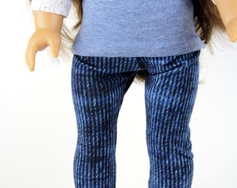 Fits like American Girl Doll Clothes - Bright Denim Blue Jeggings, Made To Order