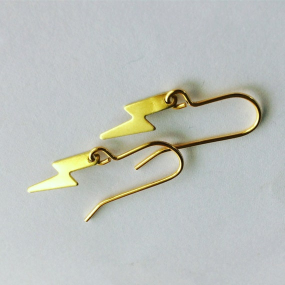 Tiny Raw Brass Lightening Bolts - Ziggy Stardust - Bowie - Gold