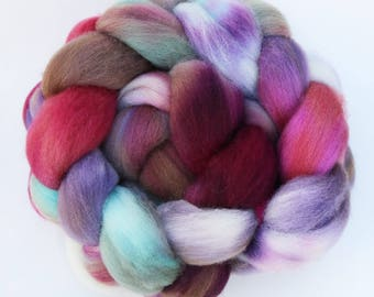 """BFL Wool Combed Top Hand-dyed Spinning Fiber, 4 oz, """"Intrigue"""""""