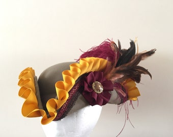 Pirate hat gold and burgundy fantasy- ready to ship