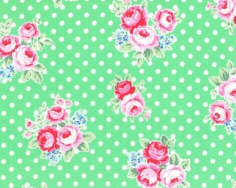 Mint Rose Blossoms 31375 60 Fabric by Lecien Flower Sugar Sweet Carnival
