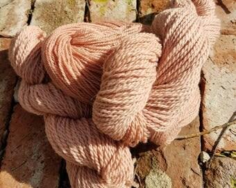 Avocado Pit Dyed Lamb's Wool Yarn from the farm Shetland/Romney Wool Yarn in Dusty Rose Pink