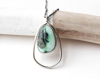 Variscite Frame Necklace - Sterling and Variscite Stone Necklace