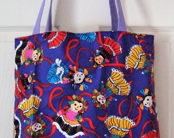 Very Colorful Dancing Dolls Tote, pockets on the inside. Go to the Beach, Mall, Flea Market, Spa! Everyday Use.  16X16X3  Made in the USA