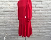 Vintage Red Secretary Chic J Ellis Schoolgirl Drop Waist Prepster Dress SZ 4