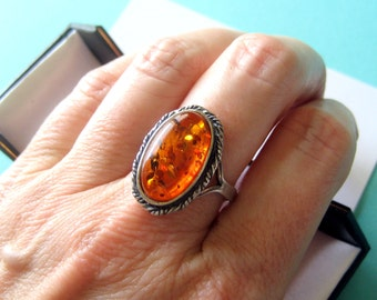 Sterling Silver and Baltic Amber Ring Size 9.5