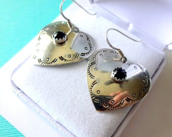 Navajo Stamped Sterling Silver Heart Earrings with Onyx