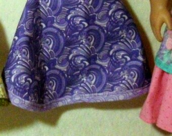 "Swirls of Purple Apron and Kerchief set for 18"" doll"