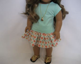 18 Inch  Doll Clothes - Tiny Triangles Skirt Outfit made to fit dolls such as the American Girl and Maplelea doll clothes