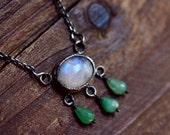 Moonstone Cabochon Bezel Necklace - Oxidized Sterling Silver Necklace - Chrysoprase Drop Necklace - Metalwork Necklace - Rustic Necklace