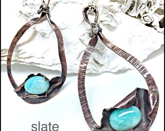 Funky, abstract copper pendant with bright blue amazonite gemstone