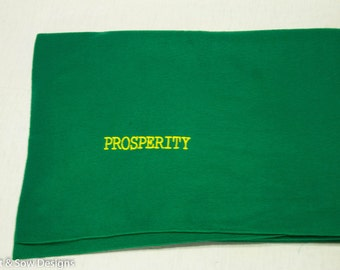 Polar Fleece Inspirational Lap Blanket Throw - Embroidered Word Prosperty - Encouragement Gift