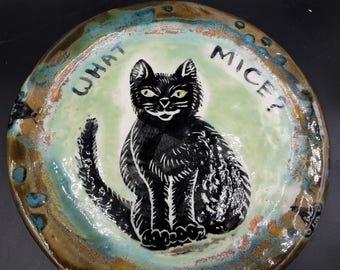 cat and mice dish - handmade ceramic