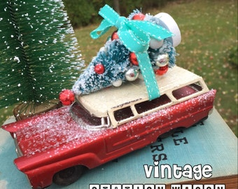 Vintage Red RAMBLER Station Wagon - Made in Japan - Headed Home for Christmas and The Holiday Season