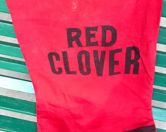 Vintage Red Clover Brand Red and Black Feedsack or Grain Sack (Still a Sack)