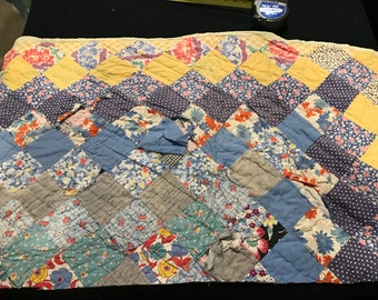 Vintage Trip Around the World Cutter Quilt Piece with Floral Cotton Backing