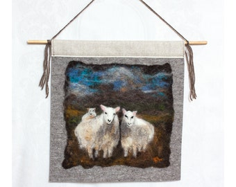 Wet Felted Painting 3 Curious Sheep