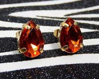 Brown Teardrop Earrings, Topaz Jewel Stud Earrings, Pear Shaped Posts, Rhinestone Gems
