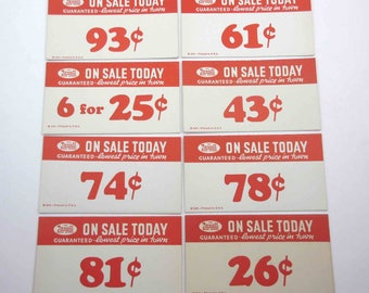 Vintage Large Rexall Drug Store Pricing Tags in Red Set of 8 Lot B