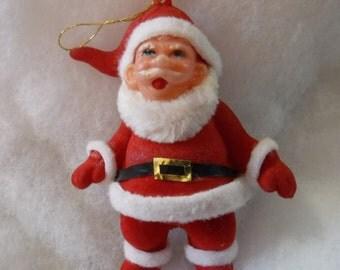vintage Santa, flocked plastic santa, Christmas ornament,