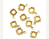 50% Off Sale Prong Settings Square Raw Brass 6mm Open Back 1 Ring (12) FI789