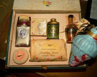 1930's Shulton Inc. Friendship Garden Perfume Soap Gift Box Set w/extras, Toilet Water, Perfume Bottle, Sachet, Soap, Sachet Dry Perfume